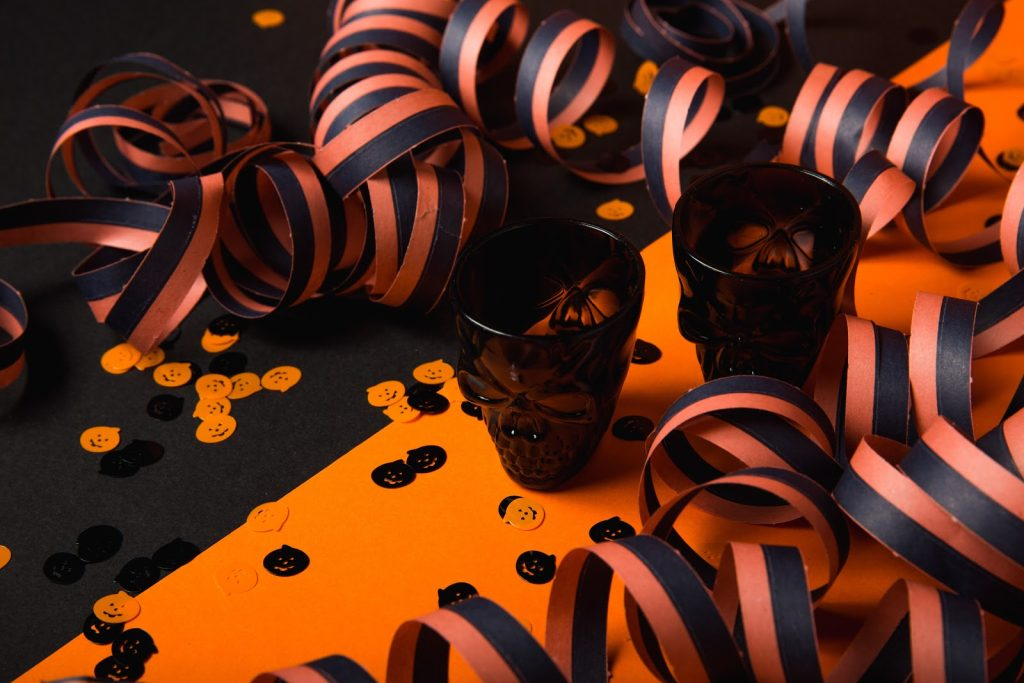 shot glasses with halloween decorations