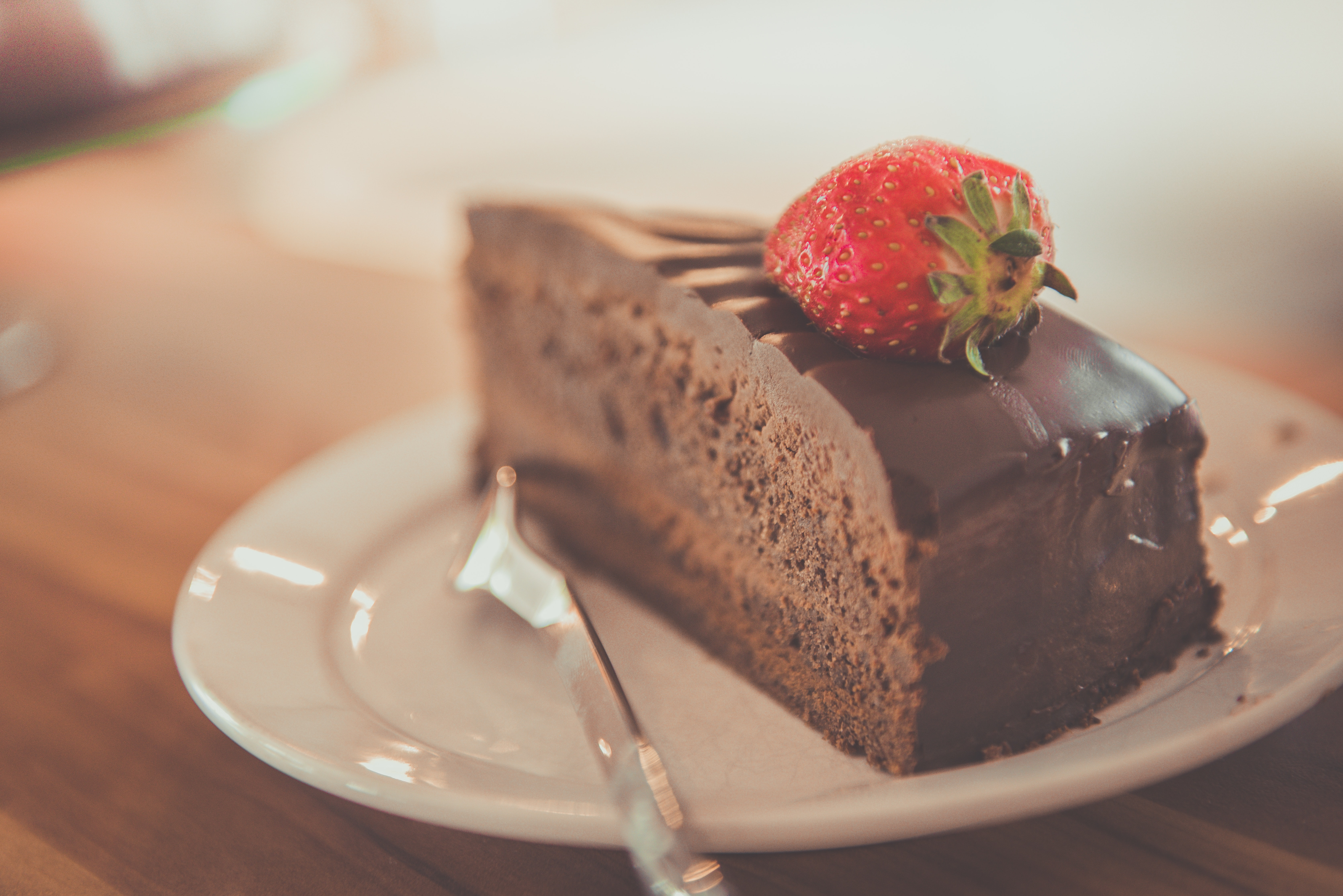 piece of chocolate cake with strawberry